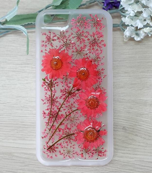 Red Daisy And Lavender Handmade Real Dried Pressed Flowers Case